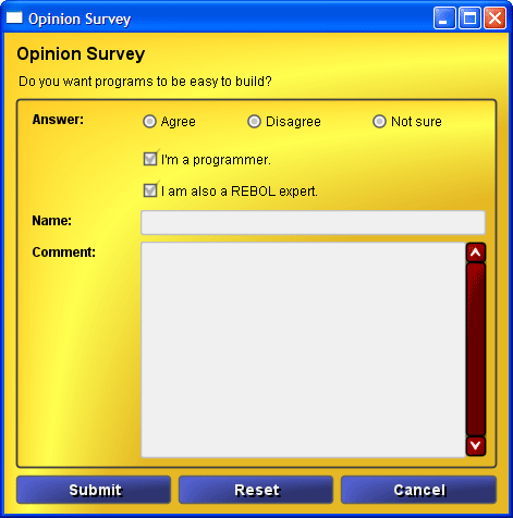 Opinion survey form (alpha skin)